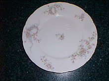 Haviland Limoges luncheon plate, wreath of pink roses w/blue scrolls