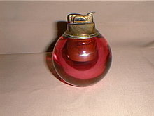 Cranberry glass cigarette lighter