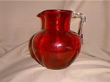 Cranberry glass water pitcher