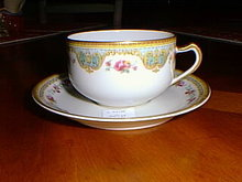 Haviland China tea cup & saucer, Juno pattern