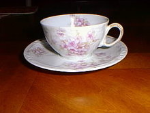 Haviland Limoges tea cup & saucer, Lavendar flowers