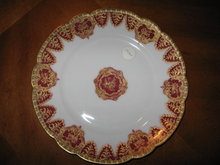 Haviland Limoges Cobalt & Red Luncheon Plate