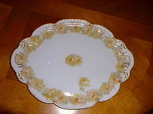 Haviland Limoges Yellow Drop Rose oval tray