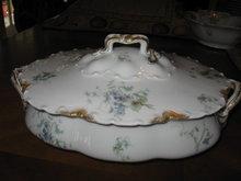 Haviland Limoges oval covered vegetable casserole, blue violets