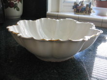 Haviland Limoges Fluted Salad Bowl, Ranson with gold