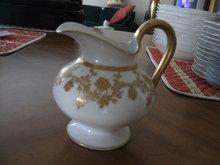 Haviland Limoges Footed creamer, gold design