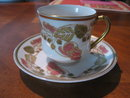 Haviland Limoges demitasse cup & saucer, red flowers, Schleiger 106