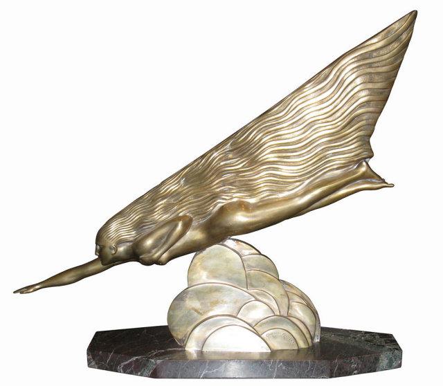 Comet Art Deco Bronze Sculpture by Maurice Guiraud-Riviere