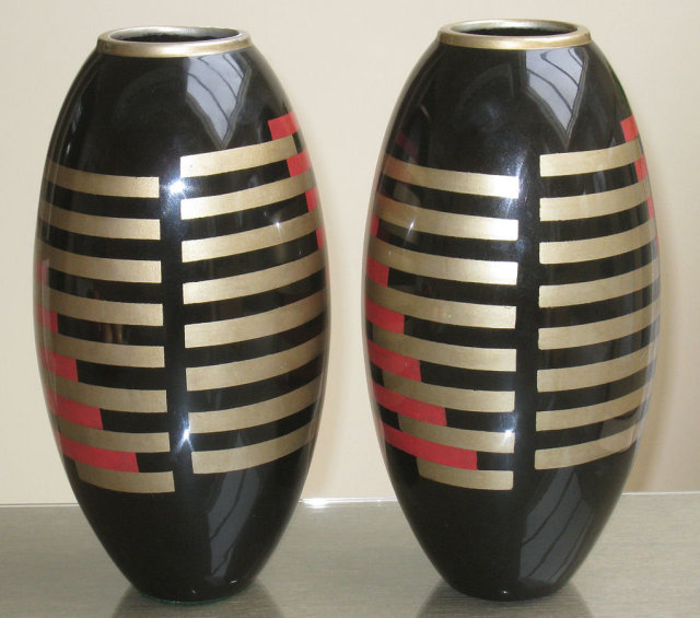 Pair Art Deco Enameled  & Lacquered Vases After Paul Dunand