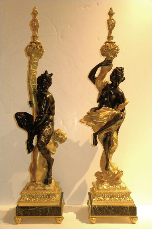E.F. Caldwell Pair Gilt Bronze Satyr & Nymph Table Lamps