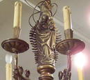 Antique Flemish Belgian Bronze Chandelier