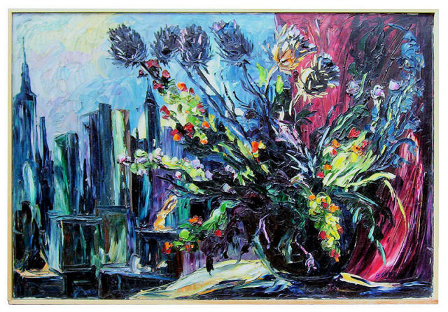 Floral Still Life & Manhattan Cityscape Oil on Canvas by Emeric