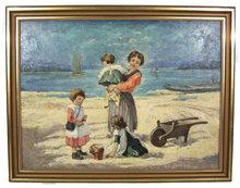 Hungarian JANCSEK Beach Genre Oil Painting