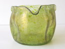 Antique Art Nouveau Bohemian Translucent Oil Spot Glass Vase