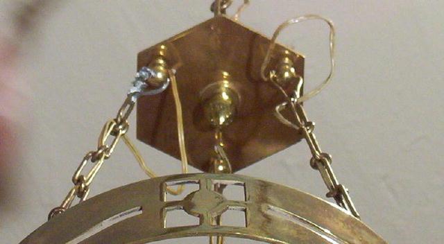 Austrian Secessionist Brass Chandelier