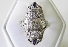 Platinum Diamonds & Sapphire Ring