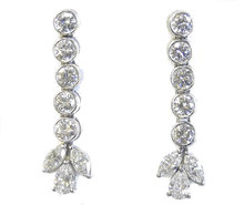Vintage Platinum & Diamond Earrings 3.8 Carats
