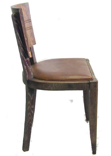 Set 6 French Art Deco Oak Dining Chairs