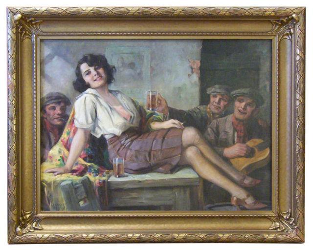 Richard Geiger Signed Tavern Painting