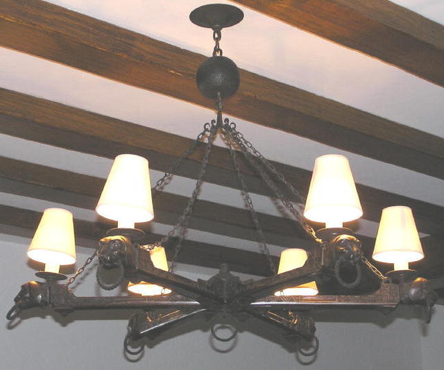 Rustic Wooden & Wrought Iron Chandelier