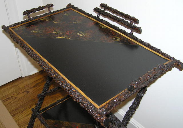 Antique Japanned Asian Lacquered Twig Table