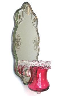 Antique Ruby Red Glass Mirrored Girandole Sconce