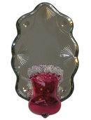 Antique Ruby Red Glass Mirrored Girandole Sconce