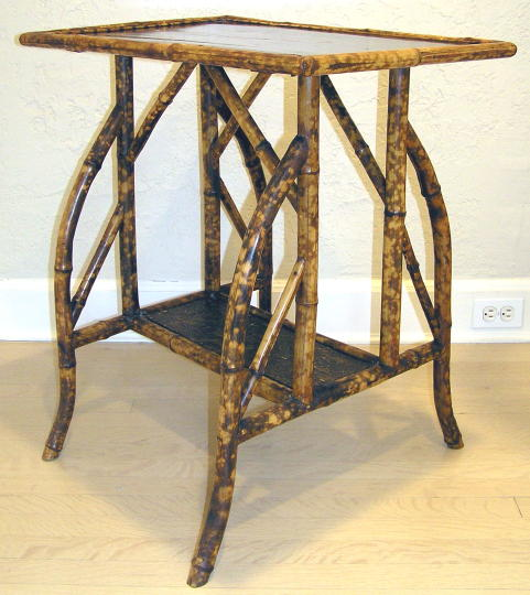 Asian Bamboo & Lacquer Side Table