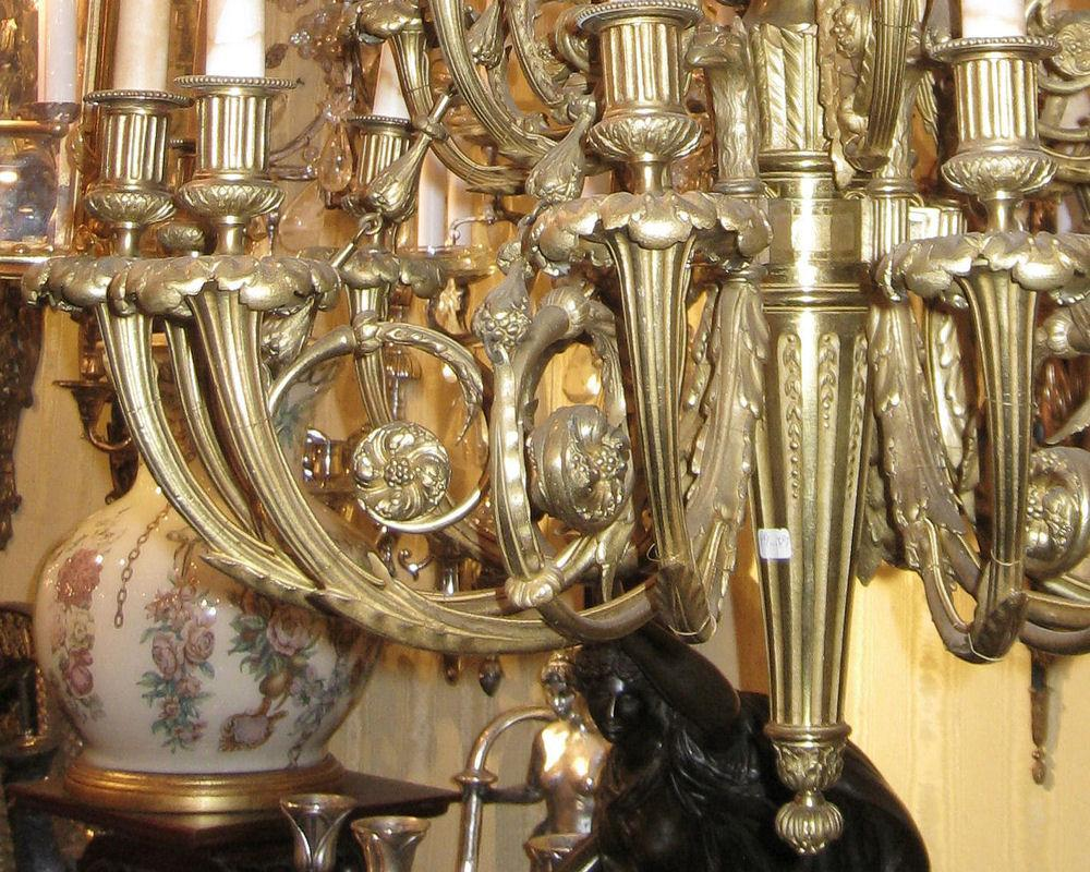 Antique Louis XVI Style 16-Light Bronze Chandelier After Pierre Gouthiere