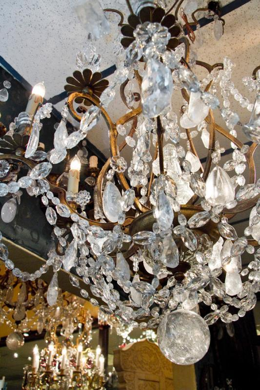 Pair of French Louis XVI Style Gilt Metal Crystal & Rock Crystal Chandeliers