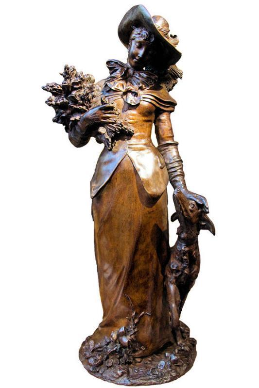 Bronze of Lady and Hound Dog by Adrien-Etienne Guadez 1845-1902