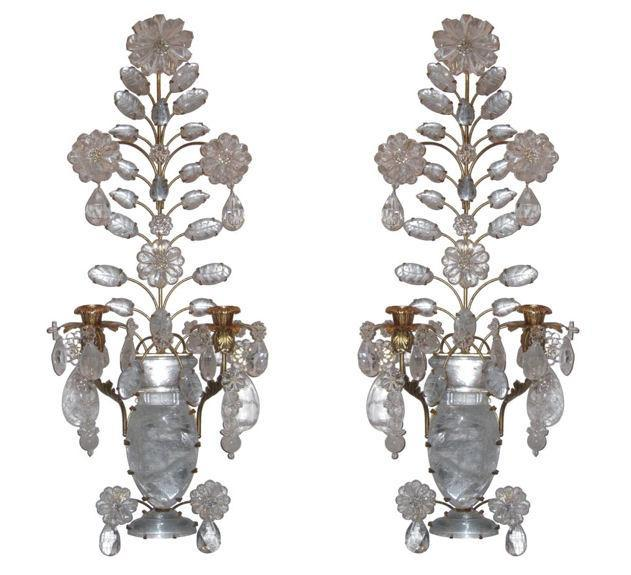Pair of Neoclassical Rock Crystal and Gilt Metal Sconces