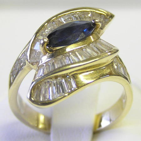 Marquise Sapphires Diamonds 14K Gold Ring