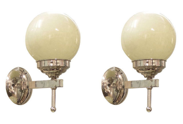 Pair Art Deco Mid-Century Chrome Sconces