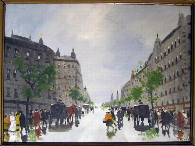 BERKES Paris Streetscape Oil Painting