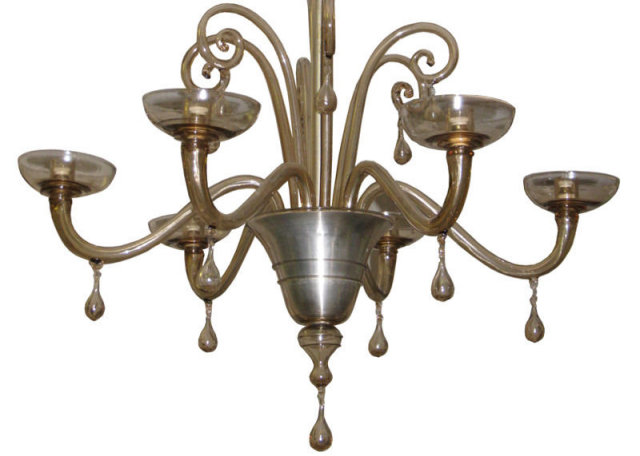 Venini Art Deco Glass Chandelier by Napoleone Martinuzzi