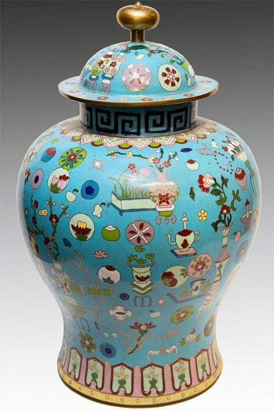 Antique Chinese Kuang Hsu Turquoise Cloisonne Vase with Precious Objects Motif