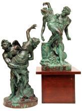 Pair Verdigris Bronze Sculptures of Roman & Greek Gods After Louis Simon Boizot