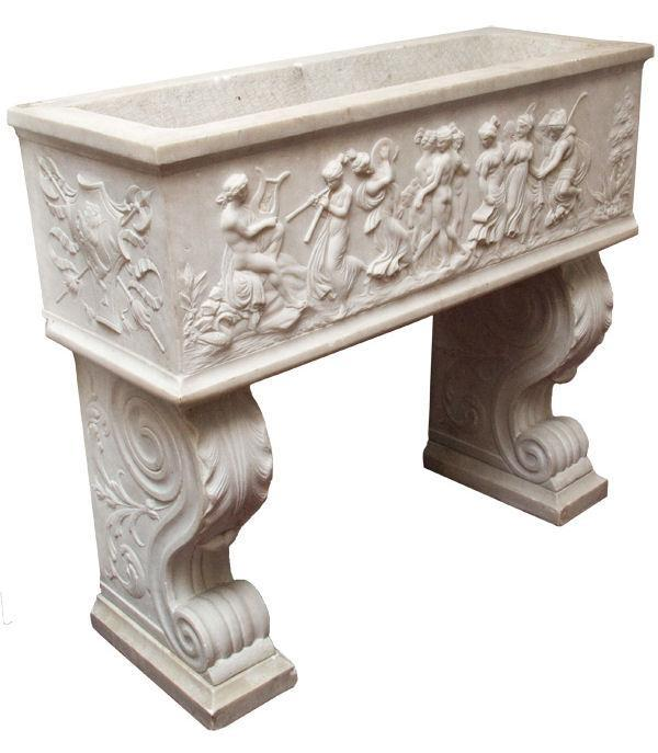 Antique Italian Neoclassical Carved Marble Jardiniere