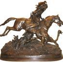 Alfred Dubucand Bedouin Ostrich Hunt Antique Orientalist Bronze Sculpture