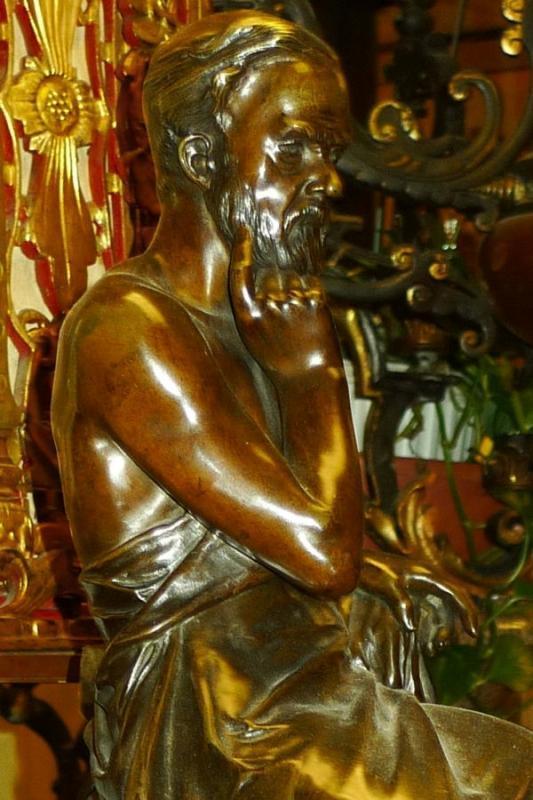 Edouard Drouot Classical Philosopher Scholar Bronze Sculpture