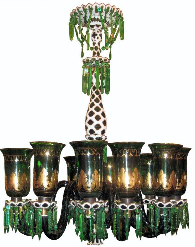 English Parcel Gilt Green Glass Chandelier for Islami or Moghul Indian Market