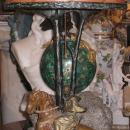 Bergman Orientalist Cold Painted Bronze Lamp with Glass Shade