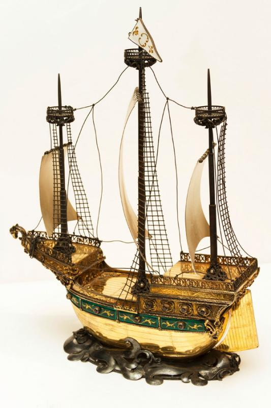 Austrian Hungarian Gilt Silver & Enamel Galleon Nef Ship