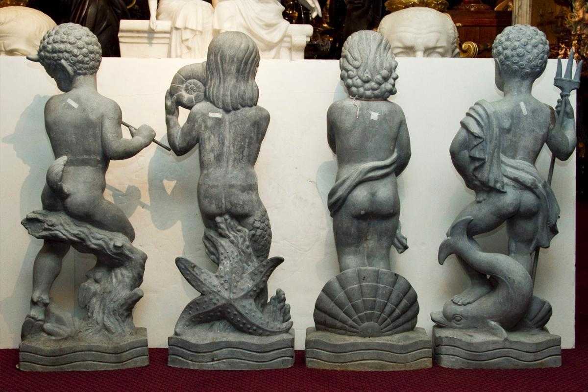 Wheeler Williams Neoclassical Lead Garden Statues Sculptures