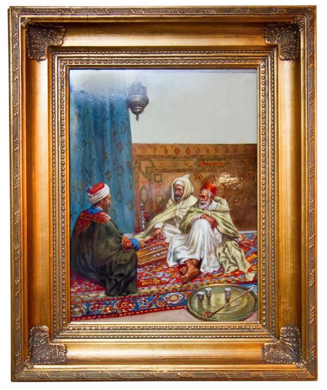 Orientalist Porcelain Plaque Arab Gentlemen Playing Backgammon After Margetson