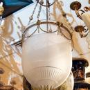 Antique English Regency Style Bronze Bell Jar Glass Lantern Chandelier