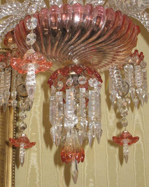 Rare Baccarat Rose Tiente Red & Amber Glass Chandelier