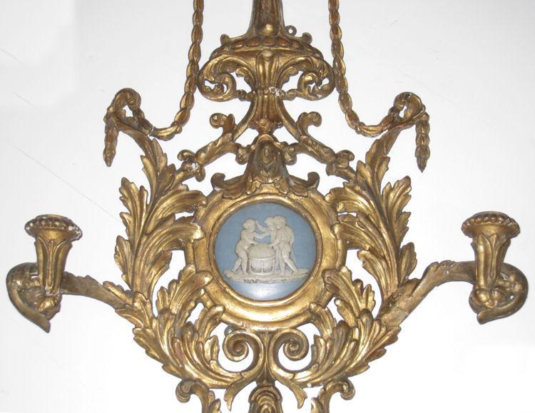 Pair of English Regency Giltwood Sconces with Wedgwood Jasperware Medallions