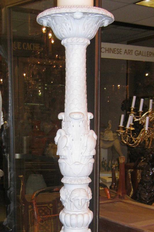 Pair E.F. Caldwell Italian Renaissance Marble Torchieres Torcheres